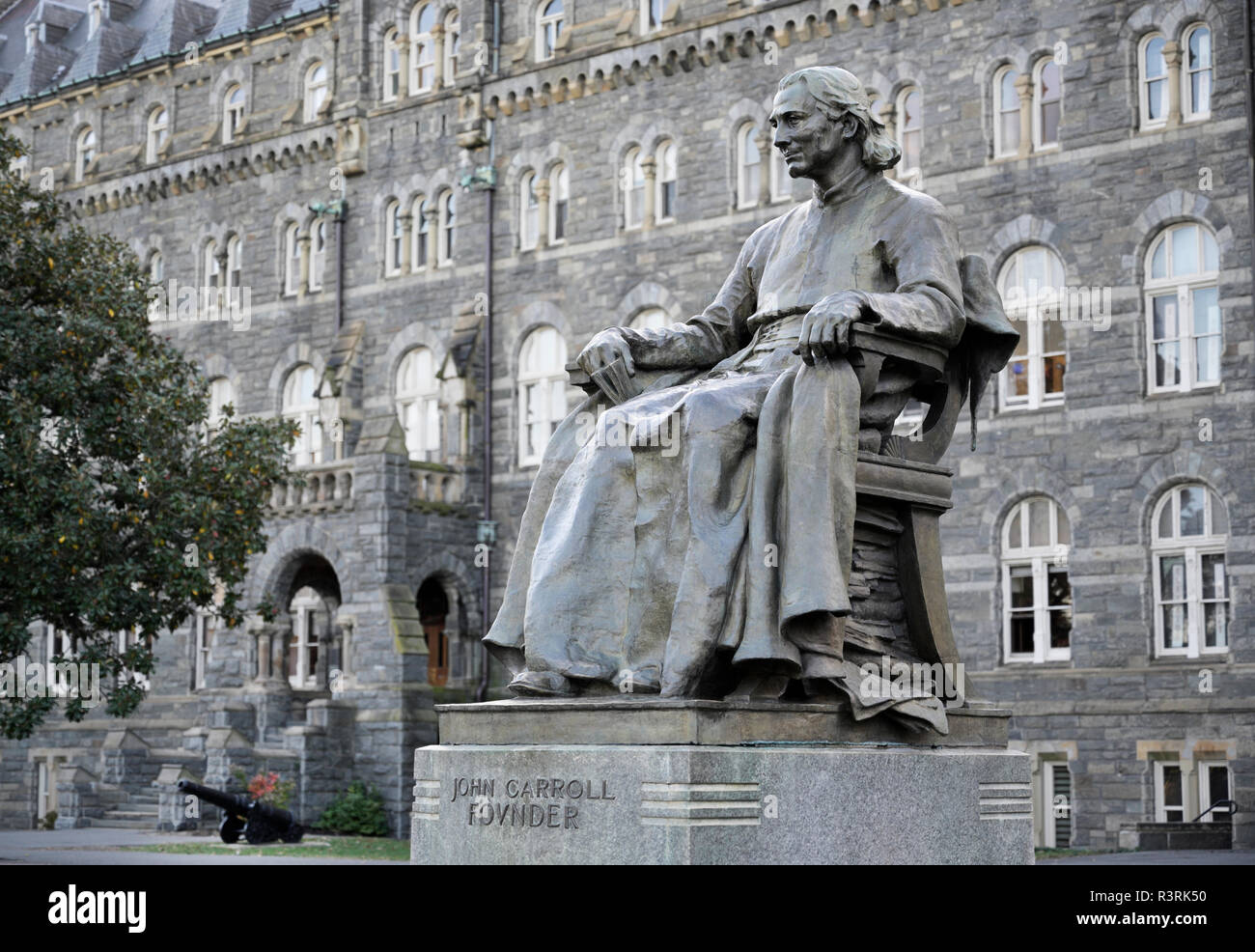 John Carroll statue Georgetown University founder - Stock Image