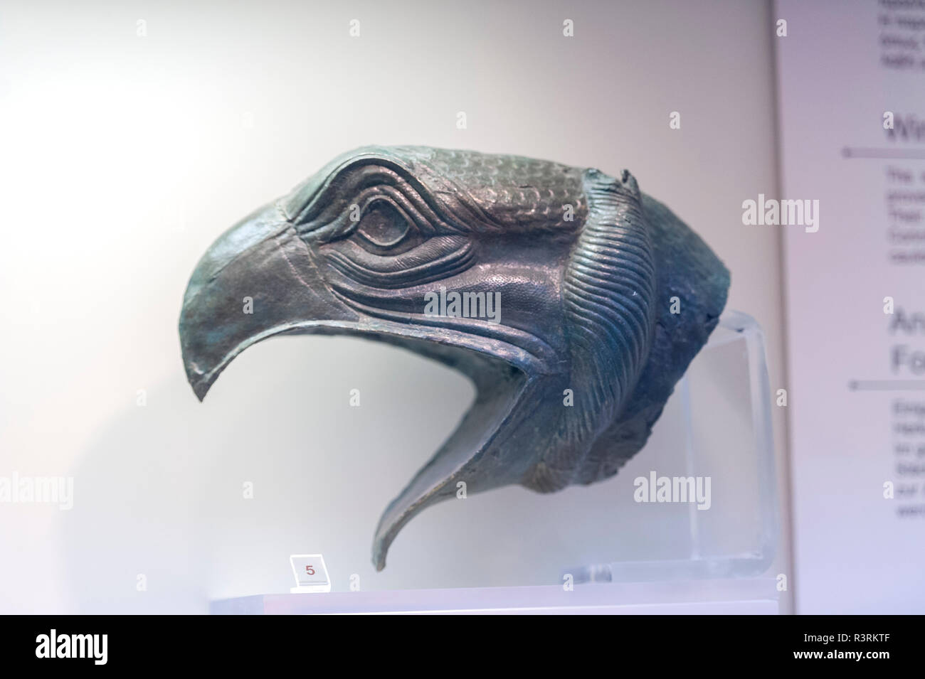 Bronze zoomorphic attachment from cauldron rim, Griffin, Olympia Museum, Olympia, Greece - Stock Image