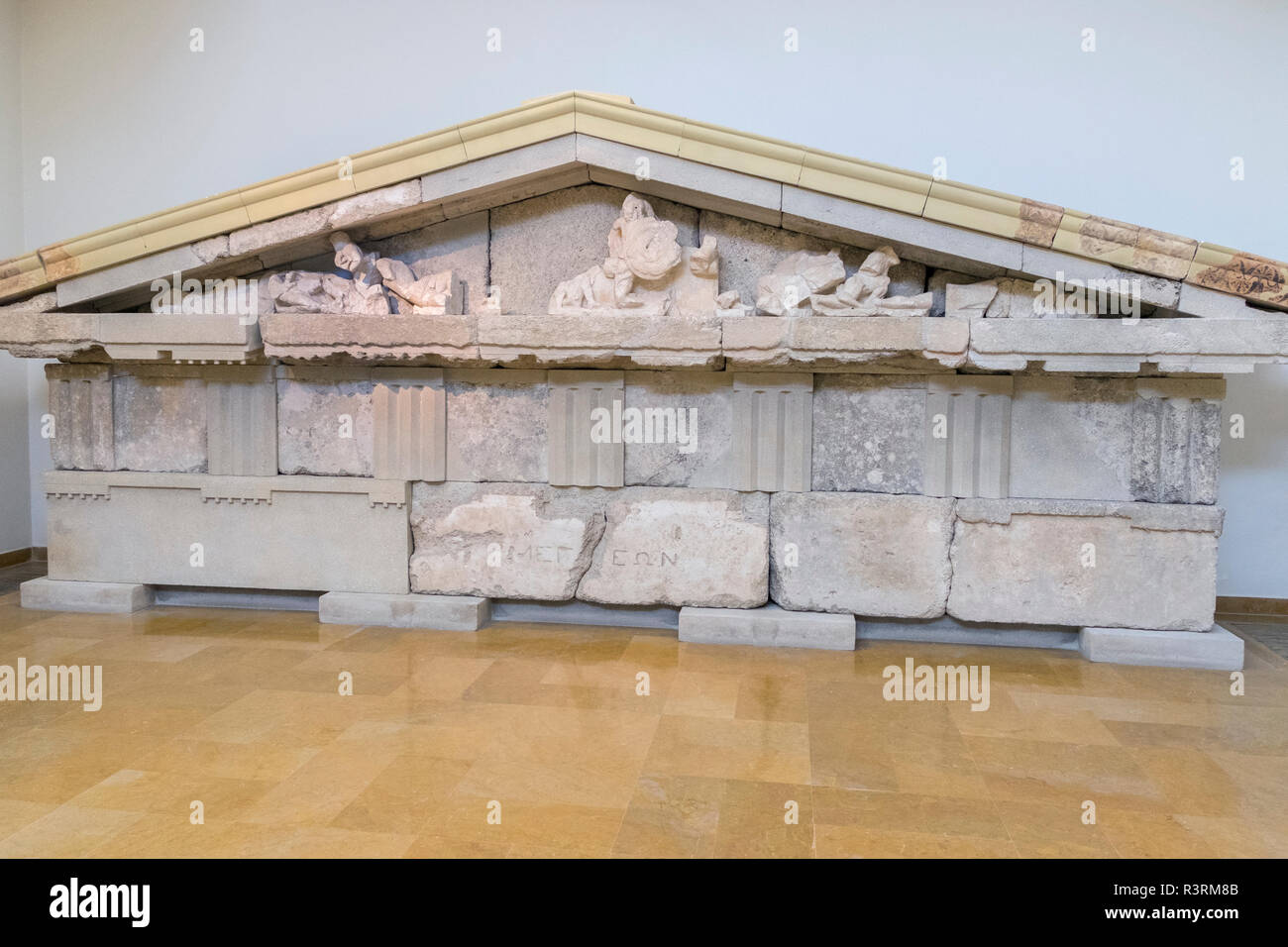 Pediment from the Treasury of the Megarians, Olympia Museum, Olympia, Greece - Stock Image