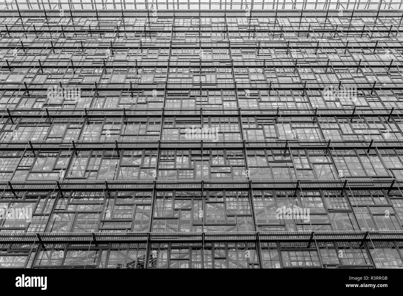 Abstract picture of the House of Europe, showing the recycled windows - Stock Image