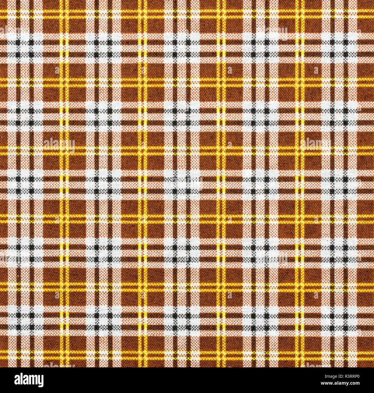 fabric with check pattern in brown tones - Stock Image