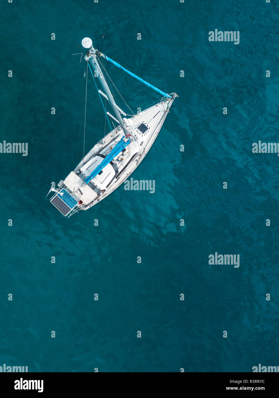 Indonesia, Bali, Aerial view of sailing boat Stock Photo