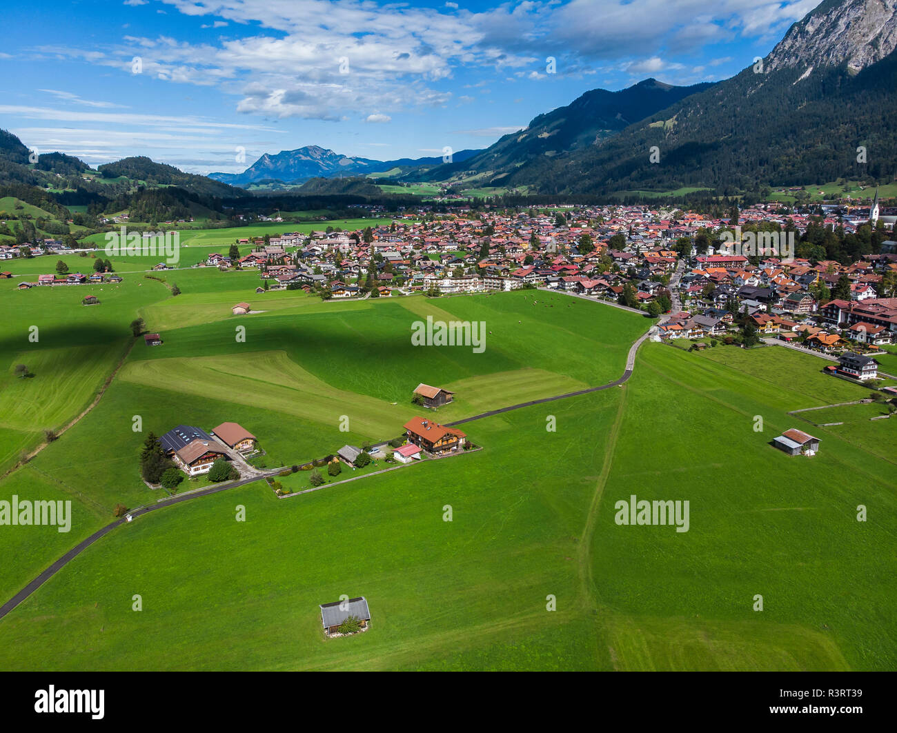 Germany, Bavaria, Swabia, Aerial view of Oberstdorf Stock Photo