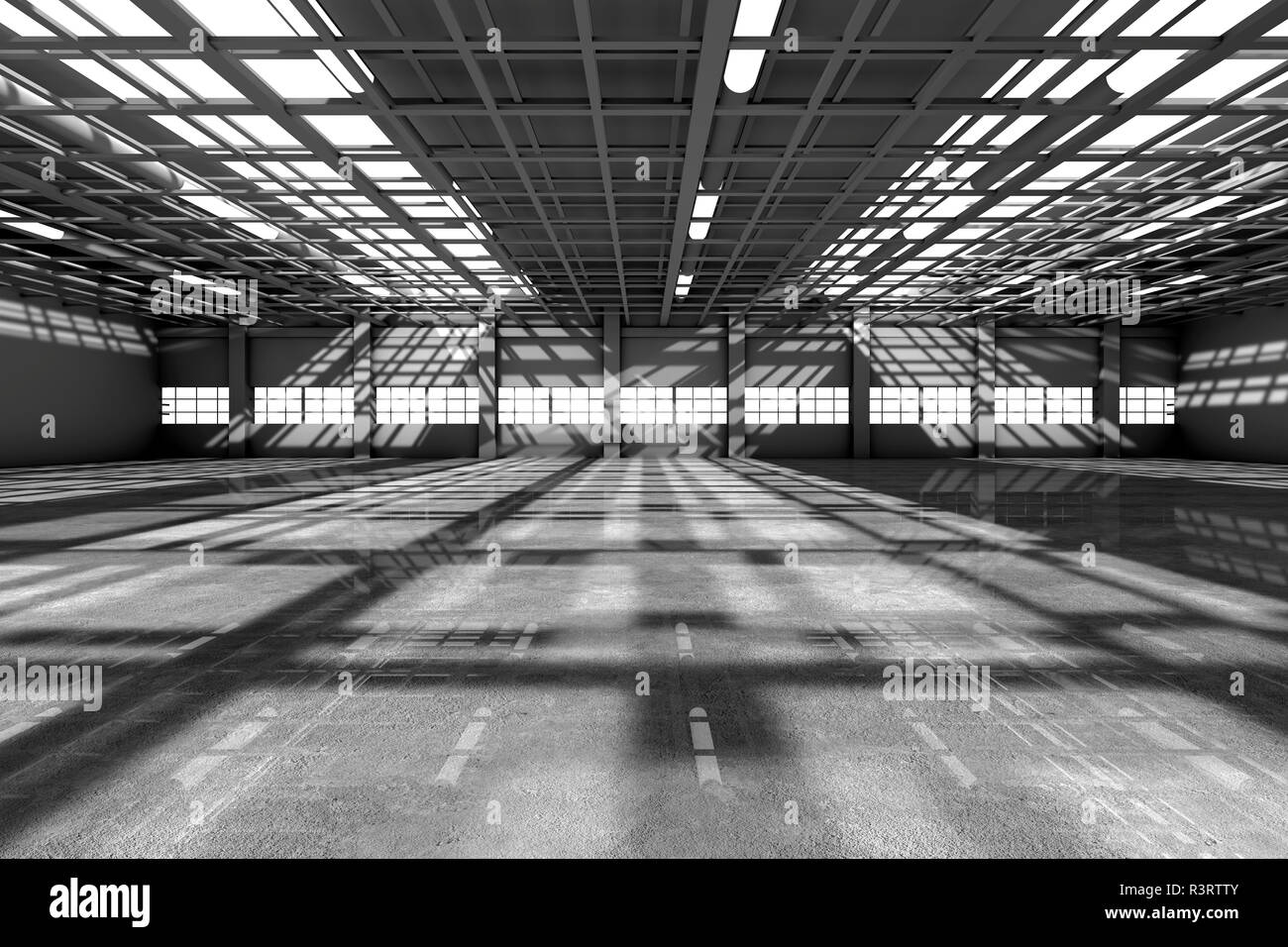 Architecture visualization of an empty warehouse, 3D Rendering - Stock Image
