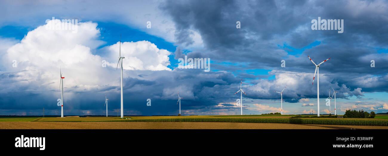 Windpark, Tomerdingen, Schwaebische Alb, Baden-Wuerttemberg, Deutschland, Europa - Stock Image
