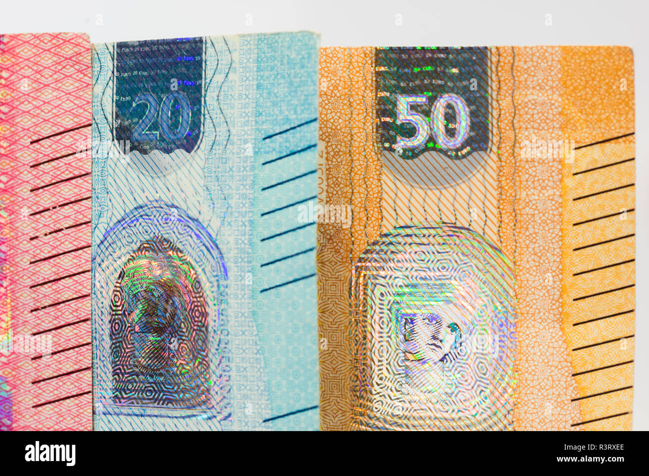 closeup of news banknotes of fifty and twenty euros bill. - Stock Image