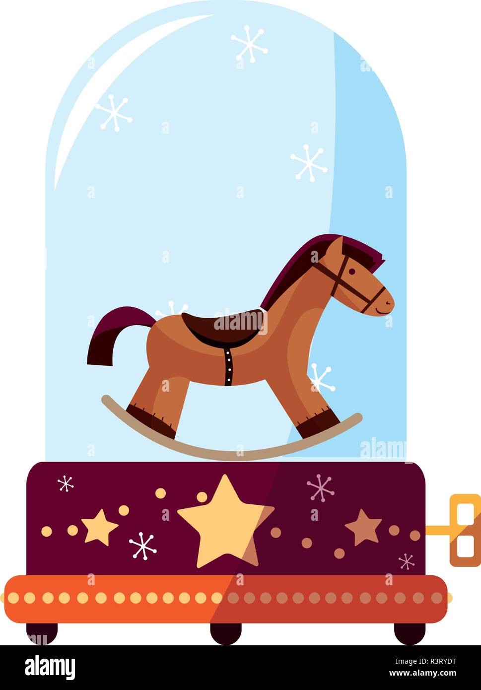 Christmas Music Box With Cute Horse Icon Over White Background Vector Illustration Stock Vector Image Art Alamy