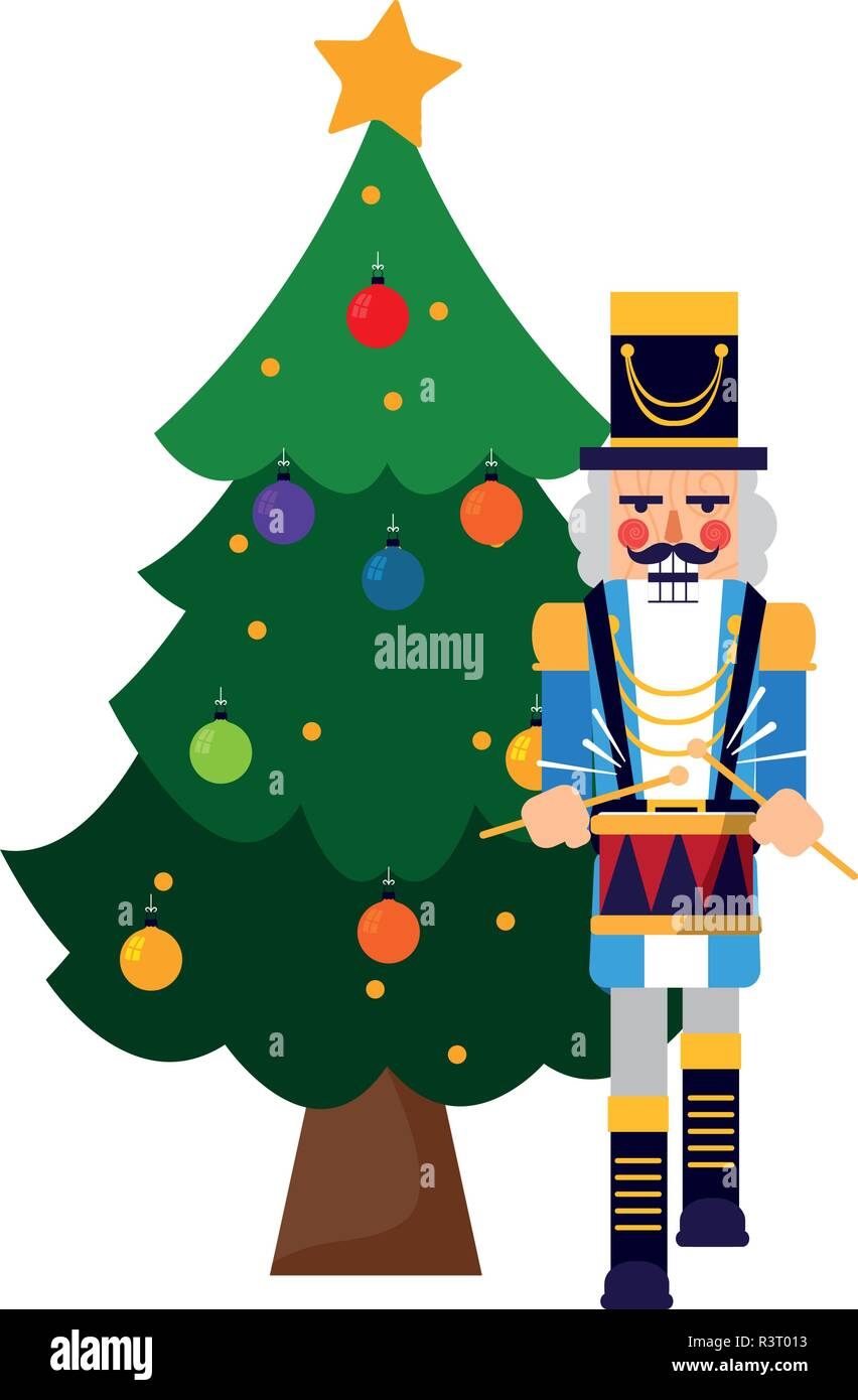 Nutcracker Christmas Tree Clipart.Christmas Tree And Nutcracker Over White Background Vector
