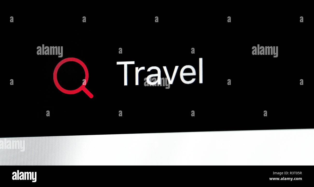 Word Travel Written In Search Bar. Close Up View Of A Computer Monitor Screen - Stock Image