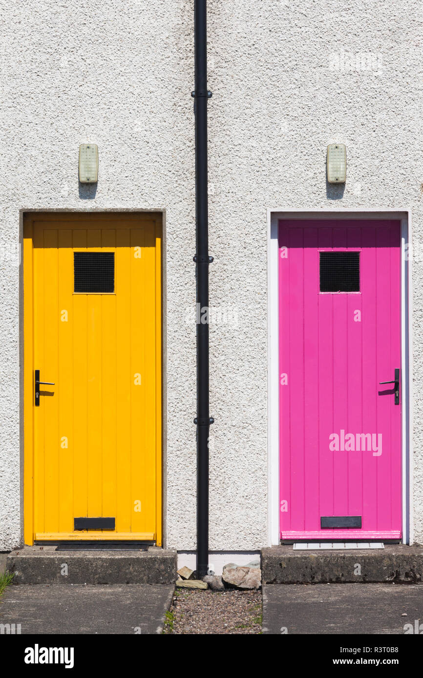 Ireland, County Donegal, Dunfanaghy, colorful doors - Stock Image