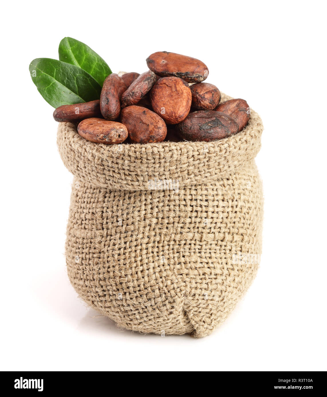 Cocoa beans in bag with leaves isolated on white background - Stock Image