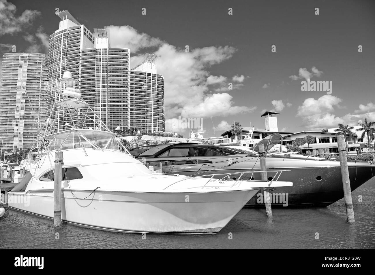 View of luxurious boats and yacht docked in a Miami Beach Marina Stock Photo