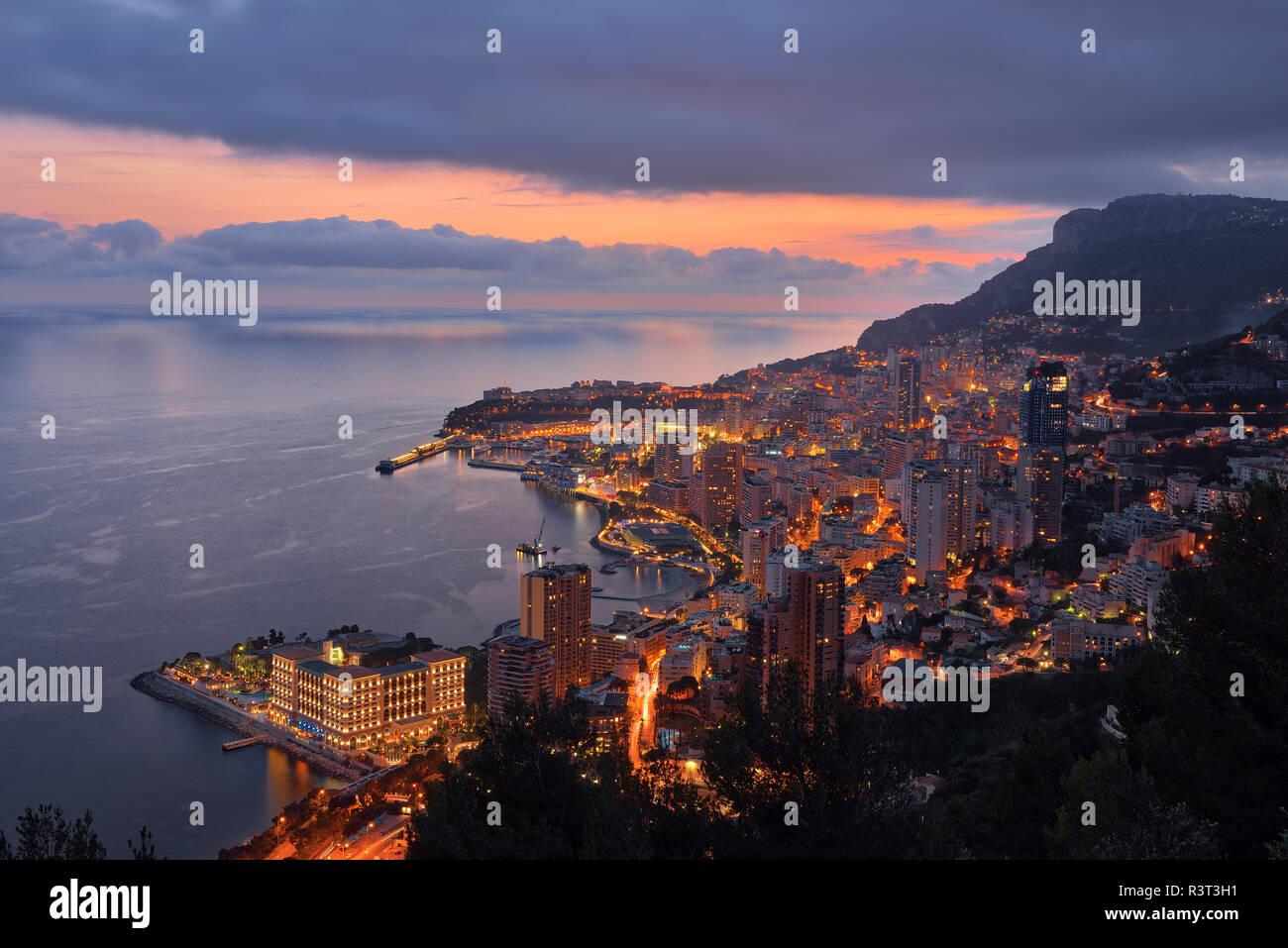 Monaco, Monte Carlo, view to lightes city at dusk Stock Photo