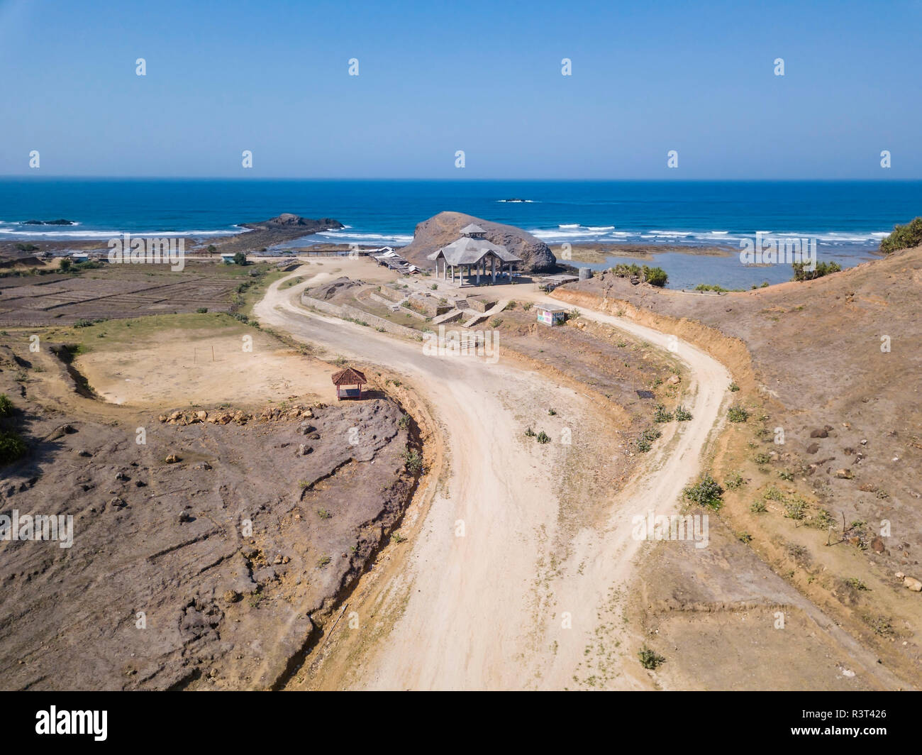 Indonesia, Aerial view of Lombok, sand track to temple - Stock Image