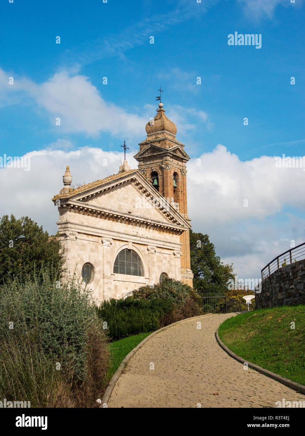 Italy, Monticiano, Madonna del Soccorso church in town of Monticiano - Stock Image