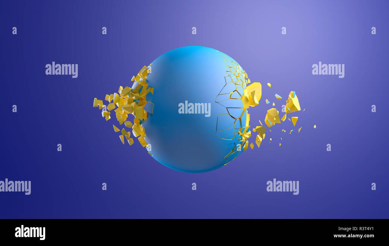 3D Rendering, Blue sphere bursting in front of blue background - Stock Image