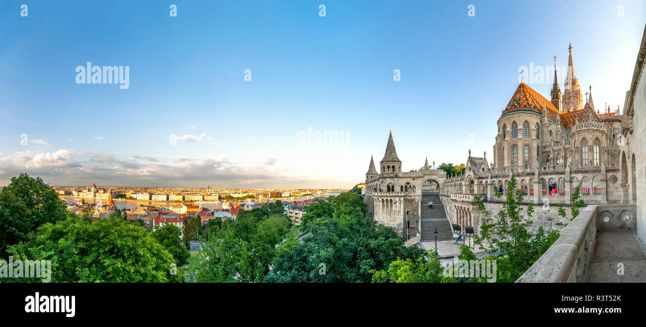 Hungary, Budapest, View from Fishermans Bastion, panoramic view - Stock Image