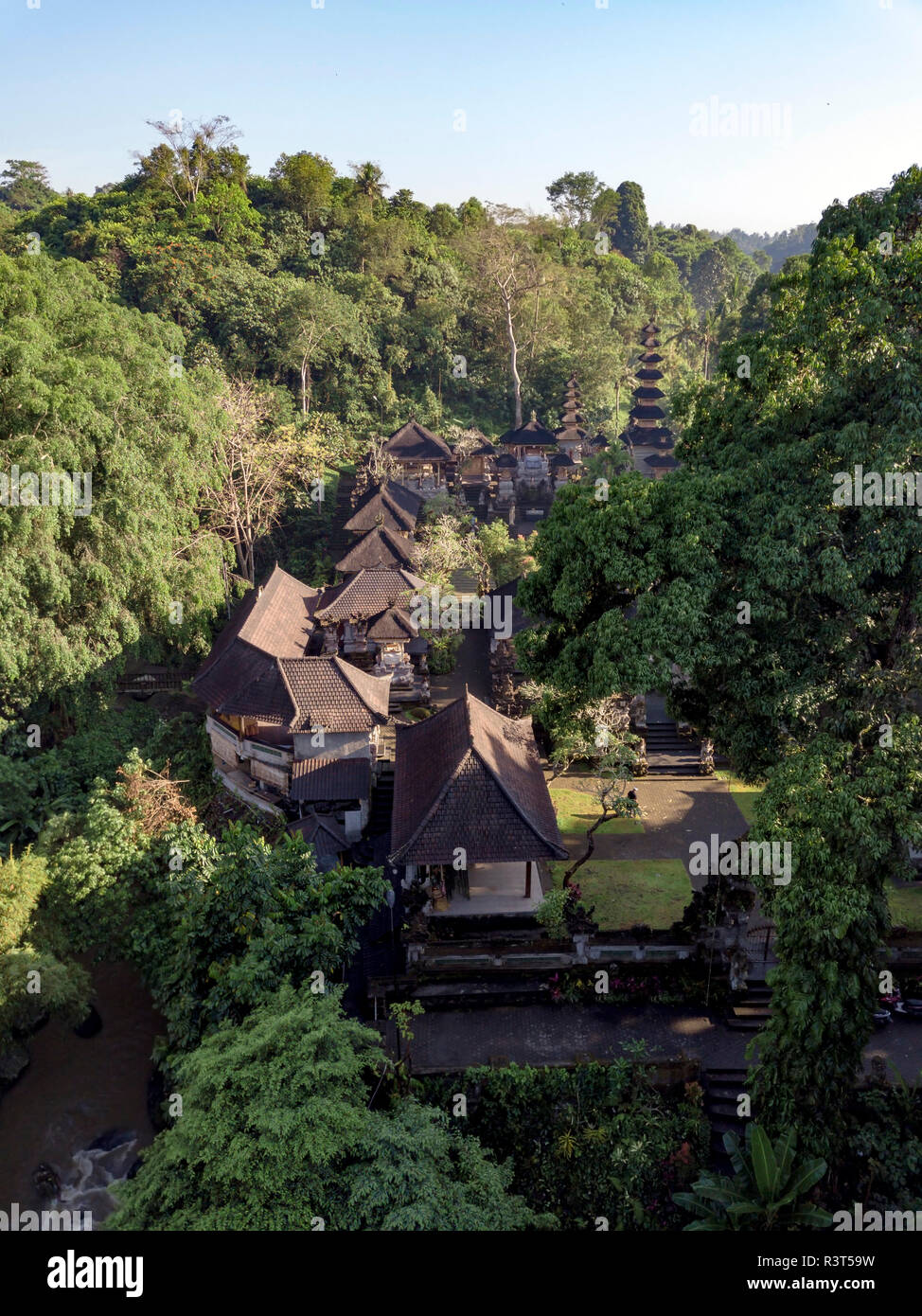 Indonesia, Bali, Ubud, Aerial view of Balinese temple - Stock Image