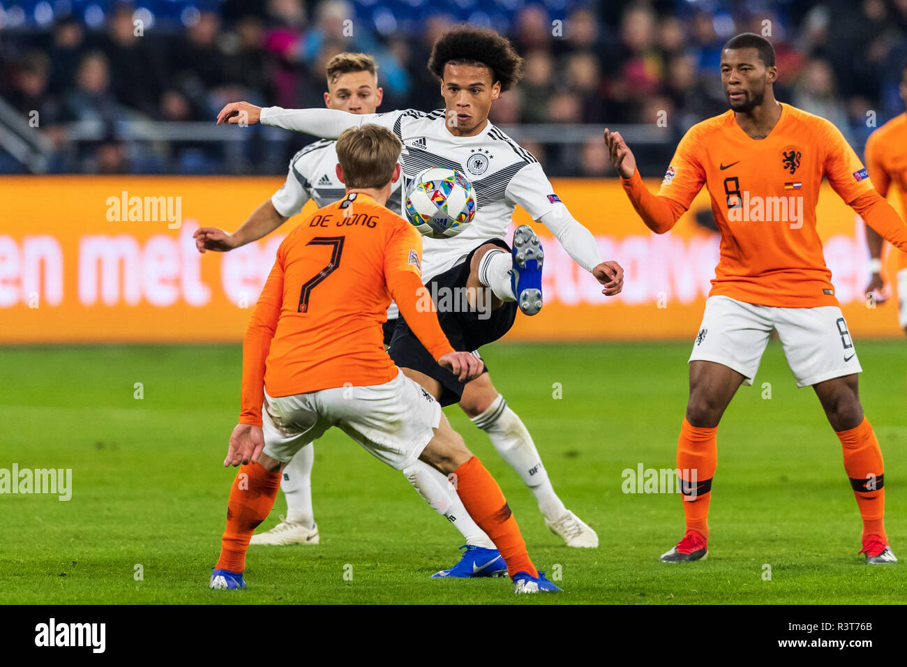 Gelsenkirchen, Germany 18 November 2018 UEFA Nations League Germany - The Netherlands    L+R Frenkie de Jong (Netherlands) and Leroy Sane of Germany a - Stock Image