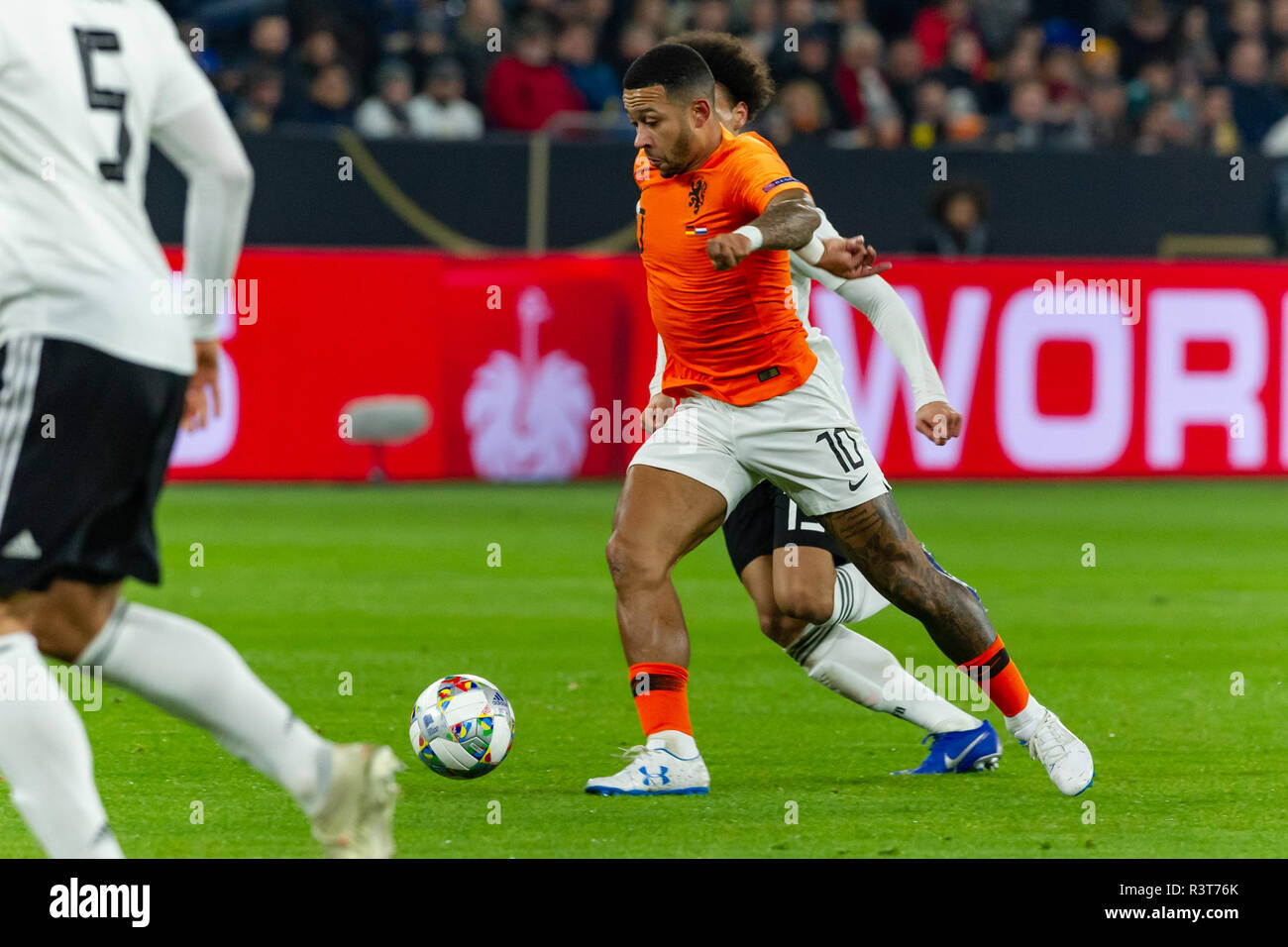 Gelsenkirchen, Germany 18 November 2018 UEFA Nations League Germany - The Netherlands    Memphis Depay (Netherlands) - Stock Image