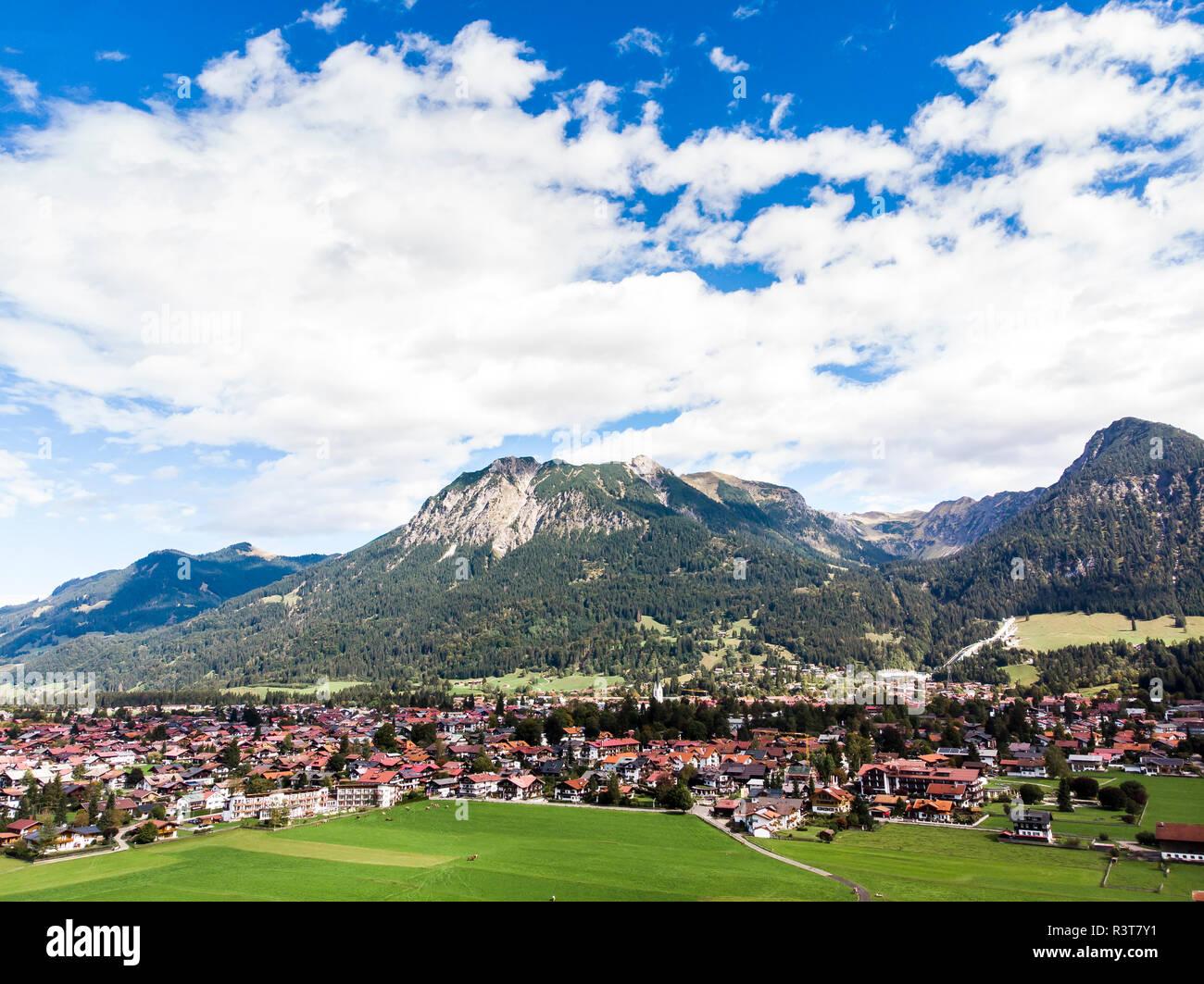 Germany, Bavaria, Swabia, Aerial view of Oberstdorf - Stock Image