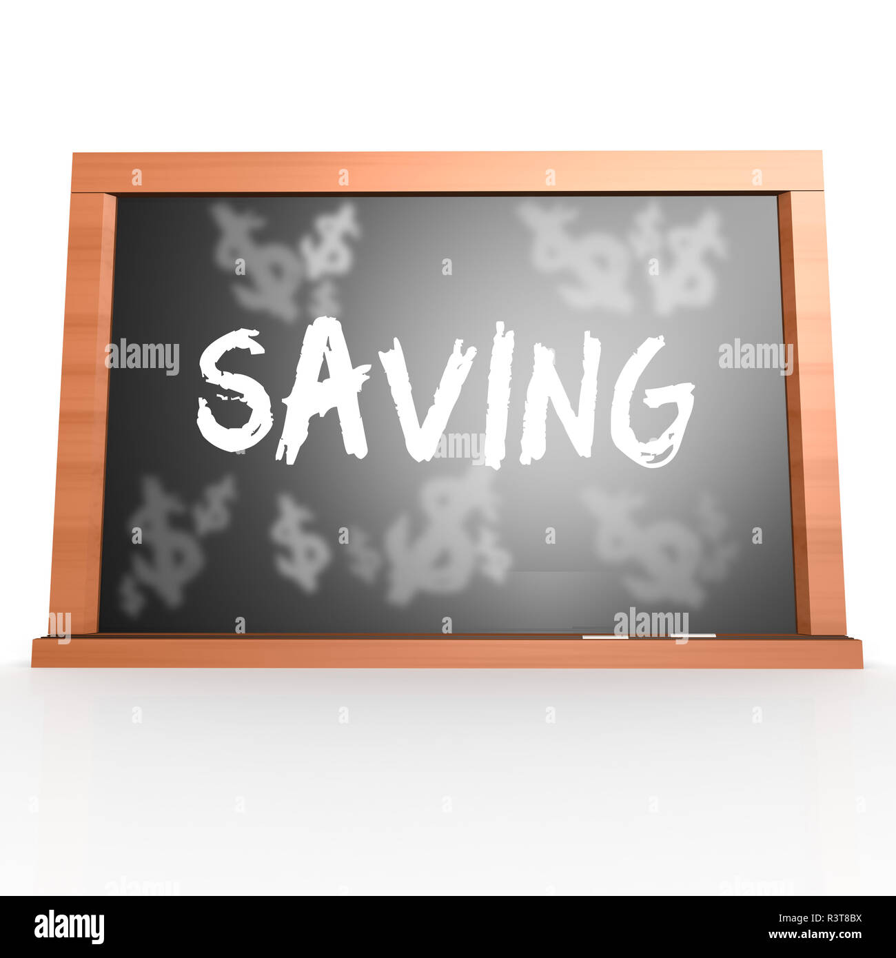 Bllack board with saving word - Stock Image