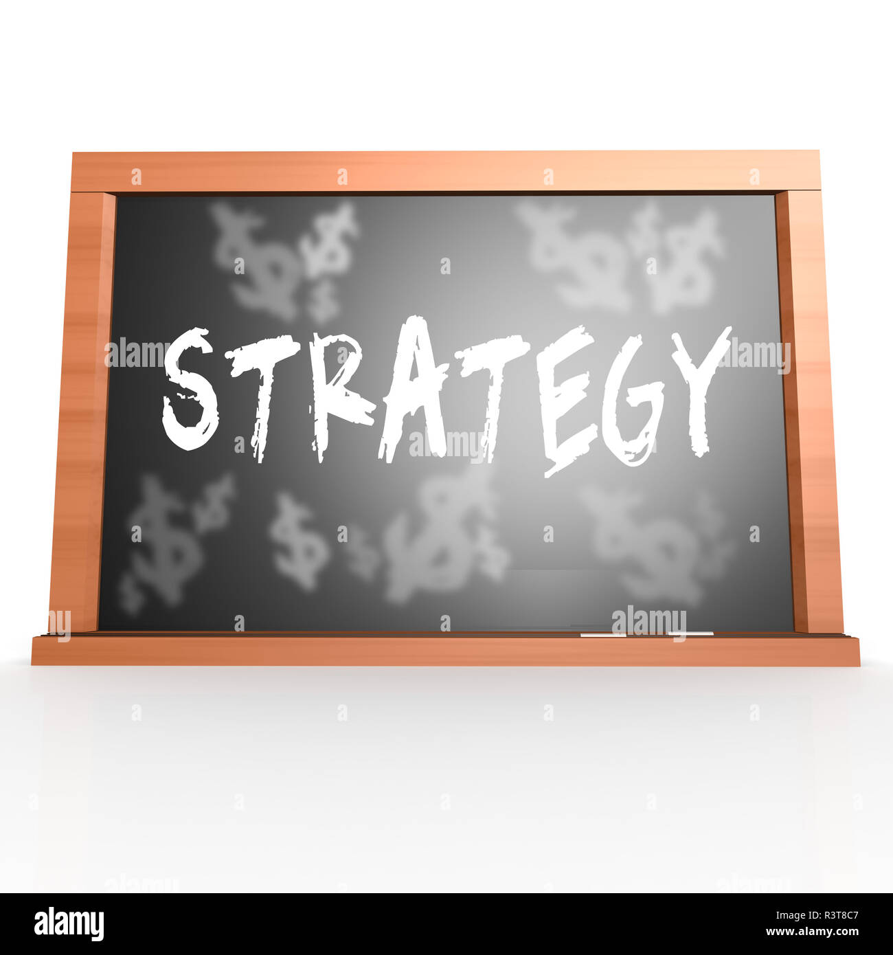 Bllack board with strategy word - Stock Image