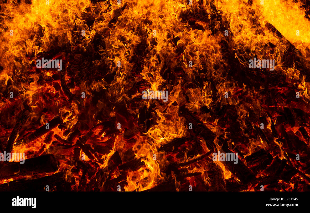 Blazing log fire, close-up - Stock Image