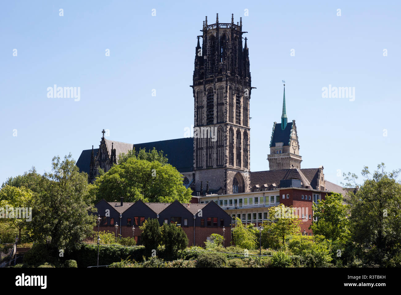 Germany, Duisburg, view to Salvator Church and town hall tower - Stock Image