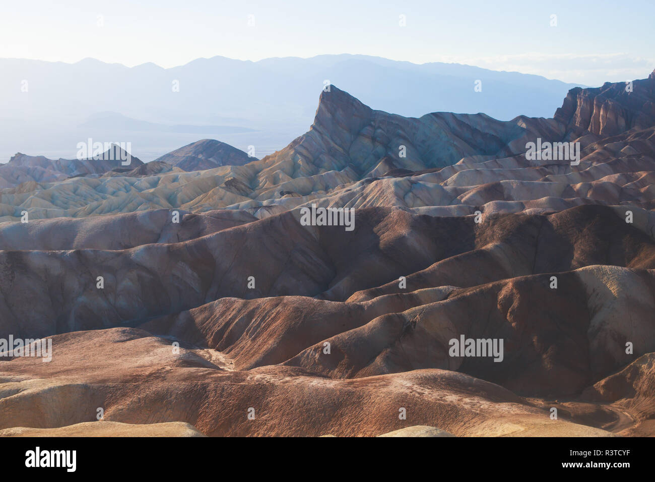 Vibrant panoramic summer view of Zabriskie point badlands in Death Valley National Park, Death Valley, Inyo County, California, USA Stock Photo