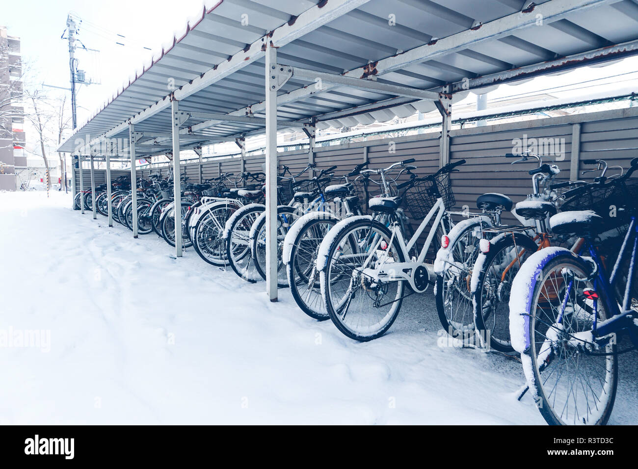 bicycle in the garage full of snow - Stock Image