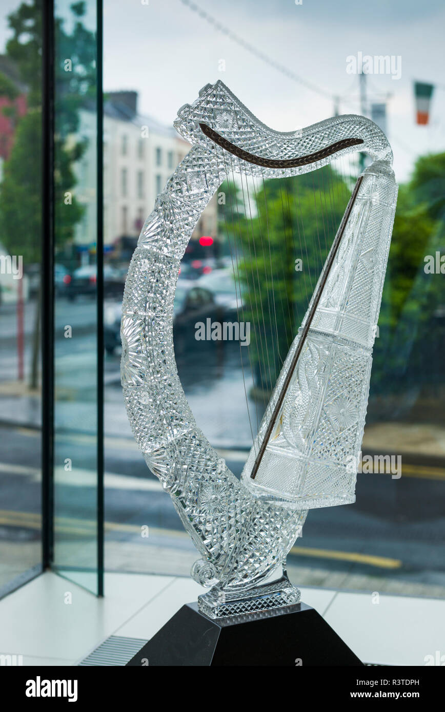 Ireland, County Waterford, Waterford City, Waterford Crystal Complex, Waterford Crystal showroom interior, crystal Irish harp - Stock Image