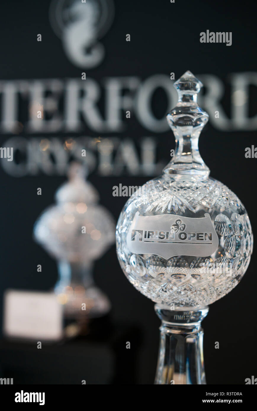 Ireland, County Waterford, Waterford City, Waterford Crystal Complex, Waterford Crystal showroom interior, crystal Irish Open golf trophy - Stock Image