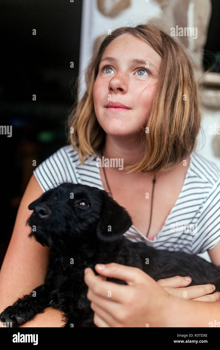 Portrait of freckled girl with black puppy in her arms looking up - Stock Image