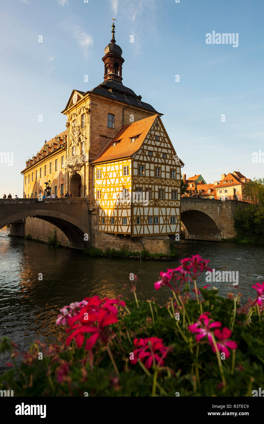 Germany, Bavaria, Upper Franconia, Bamberg, Old townhall, Obere Bruecke and Regnitz river Stock Photo