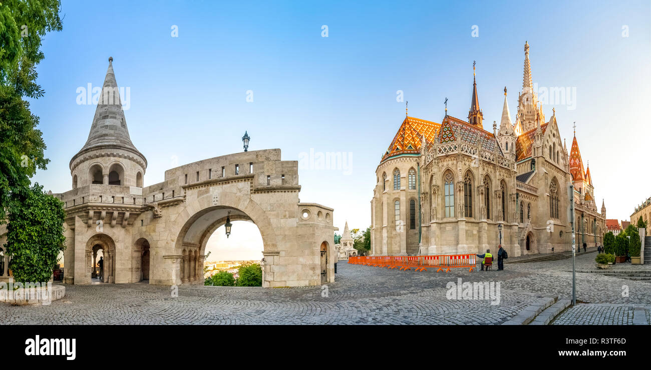 Hungary, Budapest, Fishermans Bastion, panoramic view - Stock Image