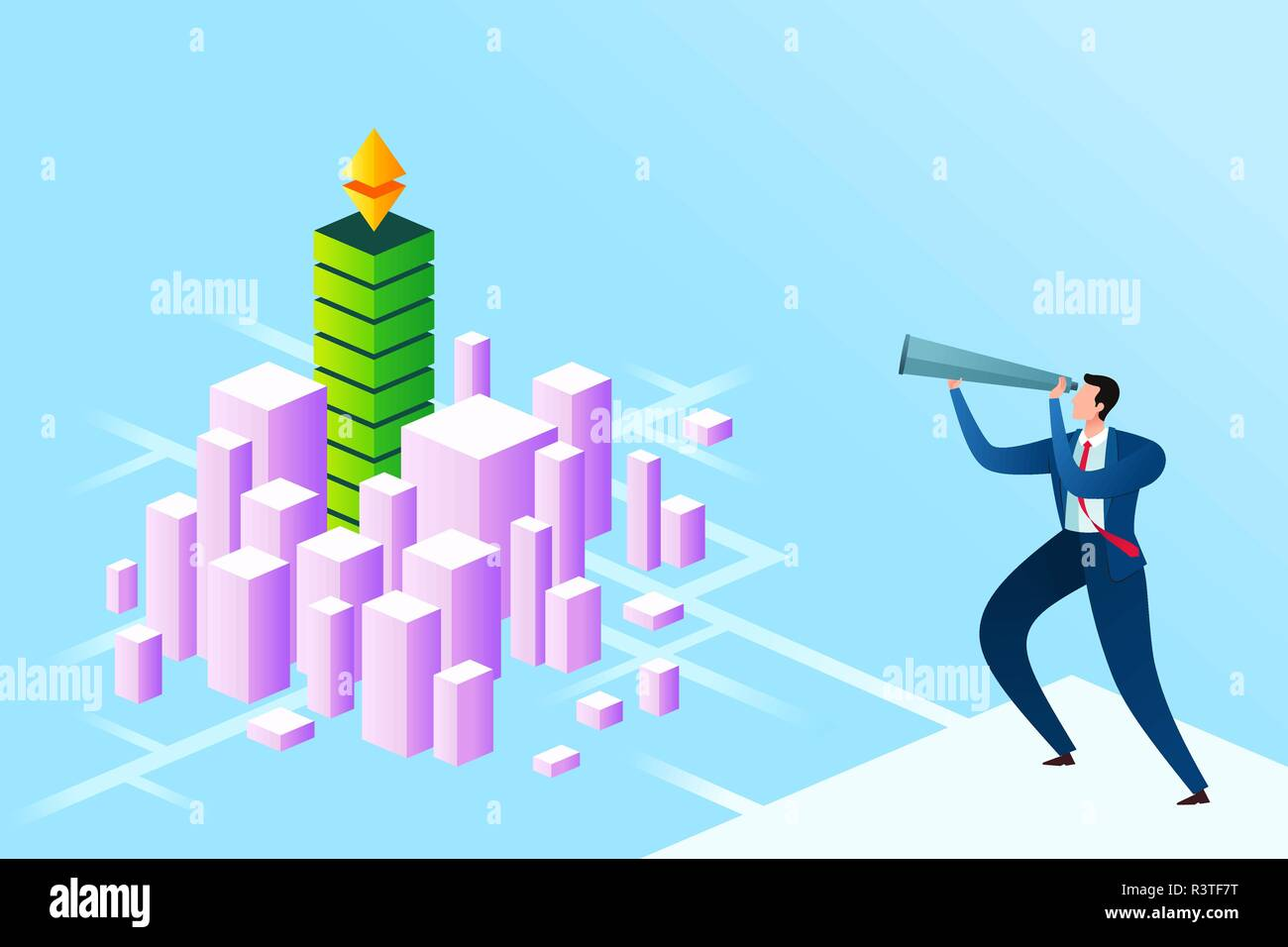 young businessman vision into digital currency excitement - Stock Vector