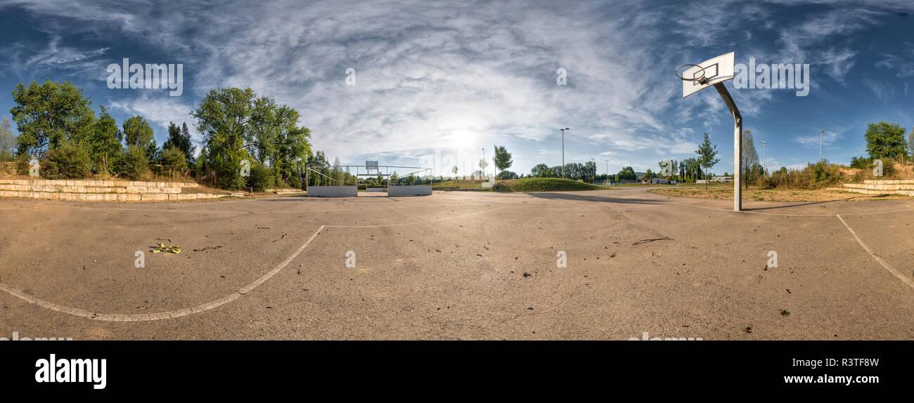 Basketball ground, 360 degree view - Stock Image