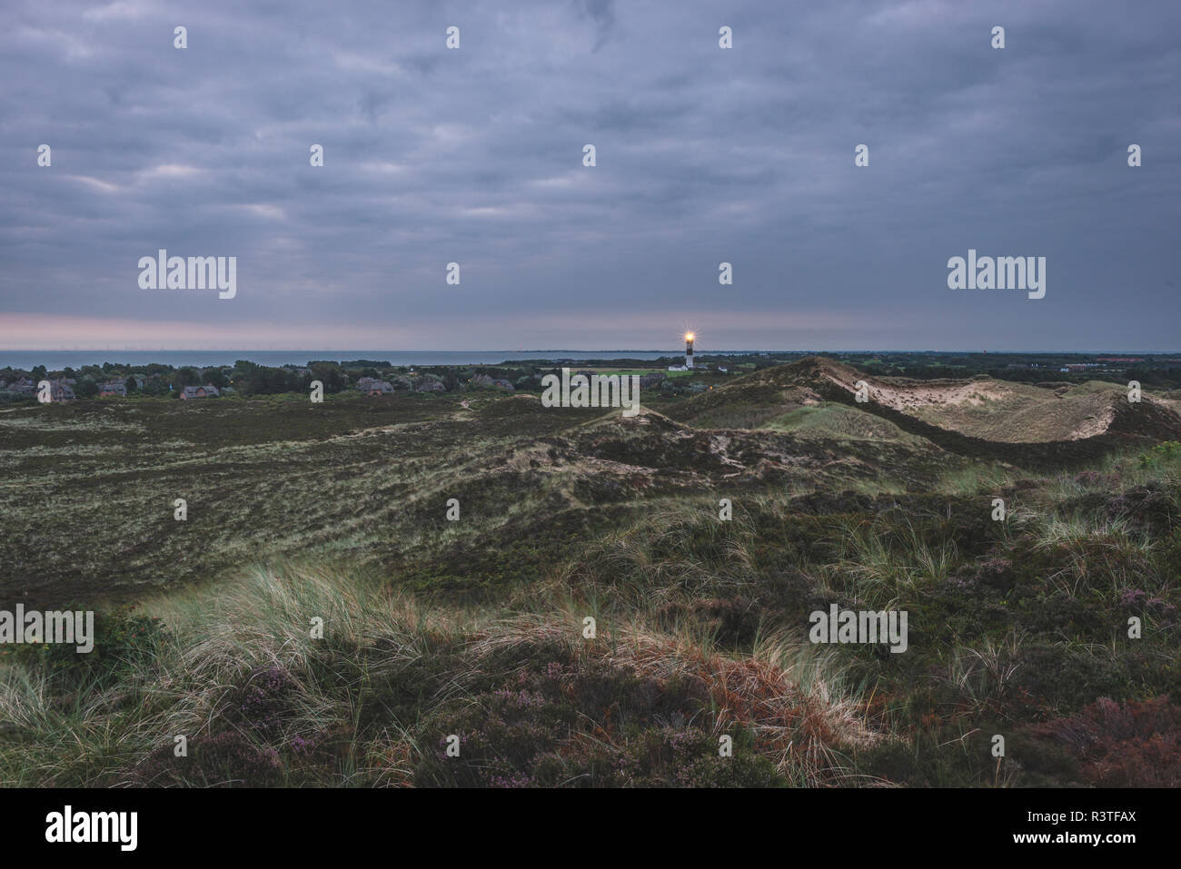 Germany, Schleswig-Holstein, Sylt, Kampen, view from Uwe dune to lighthouse - Stock Image
