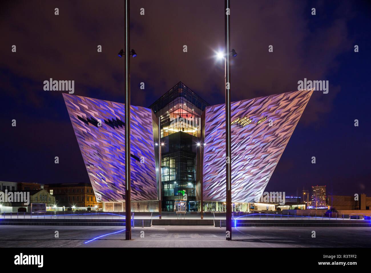 UK, Northern Ireland, Belfast Docklands, Exterior of Titanic Belfast Museum at dusk Stock Photo