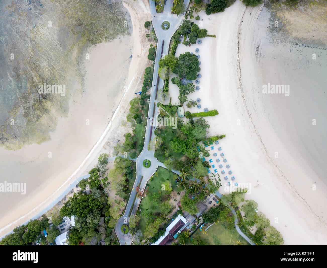 Indonesia, Bali, Aerial view of Nusa Dua beach, road - Stock Image