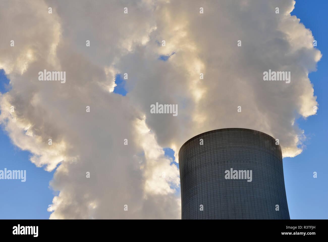 Germany, North Rhine-Westphalia, Bergheim-Niederaussem, Niederaussem Power Station - Stock Image