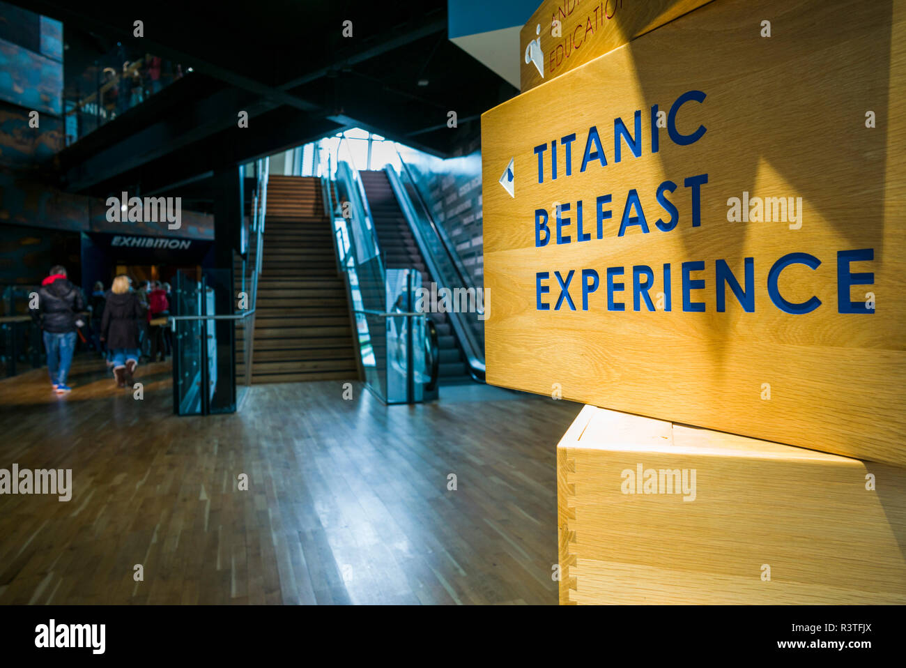 UK, Northern Ireland, Belfast Docklands, Interior of Titanic Belfast Museum - Stock Image