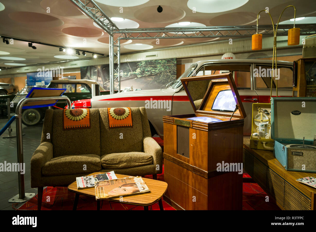 UK, Northern Ireland, County Down, Holywood, Ulster Transport Museum, 1960's home interior - Stock Image
