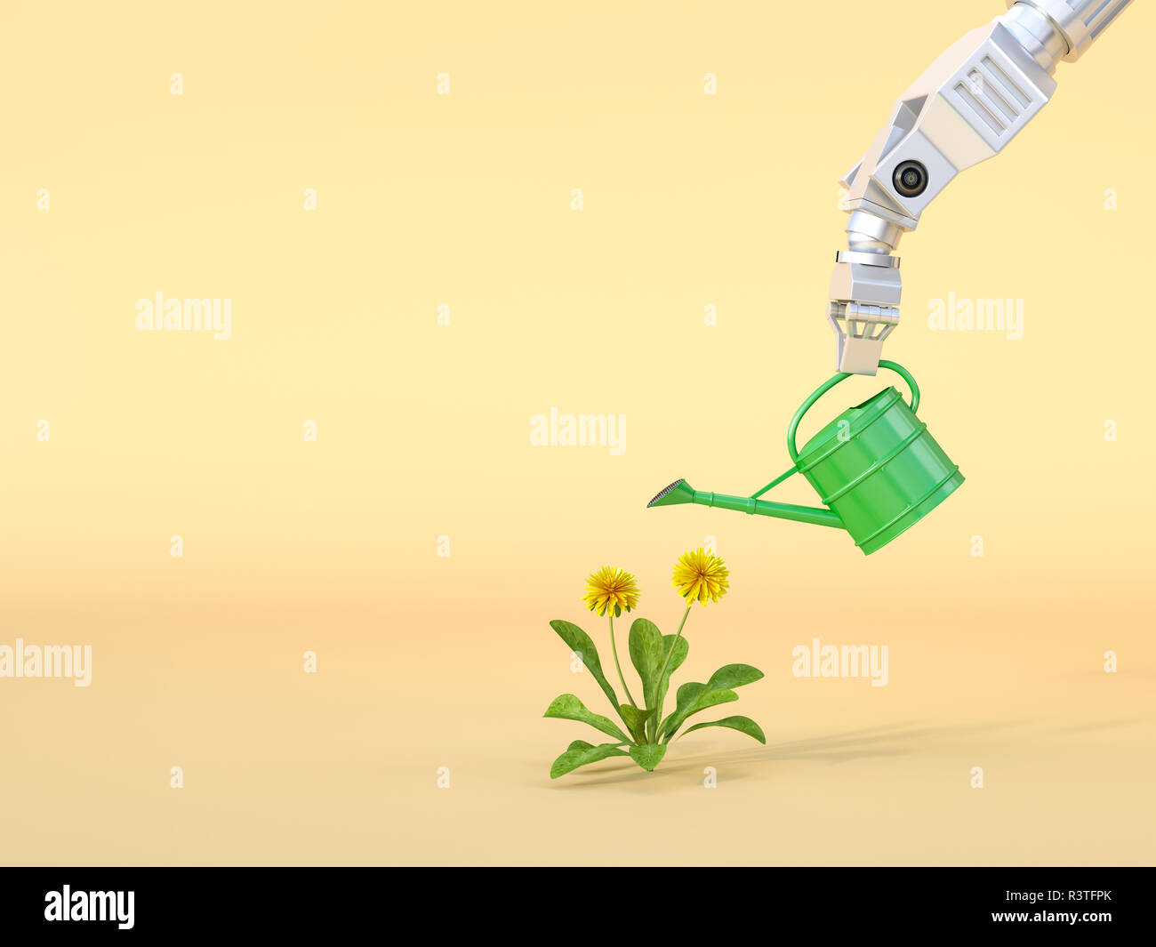 3D Rendering, Robot claw watering flowers - Stock Image