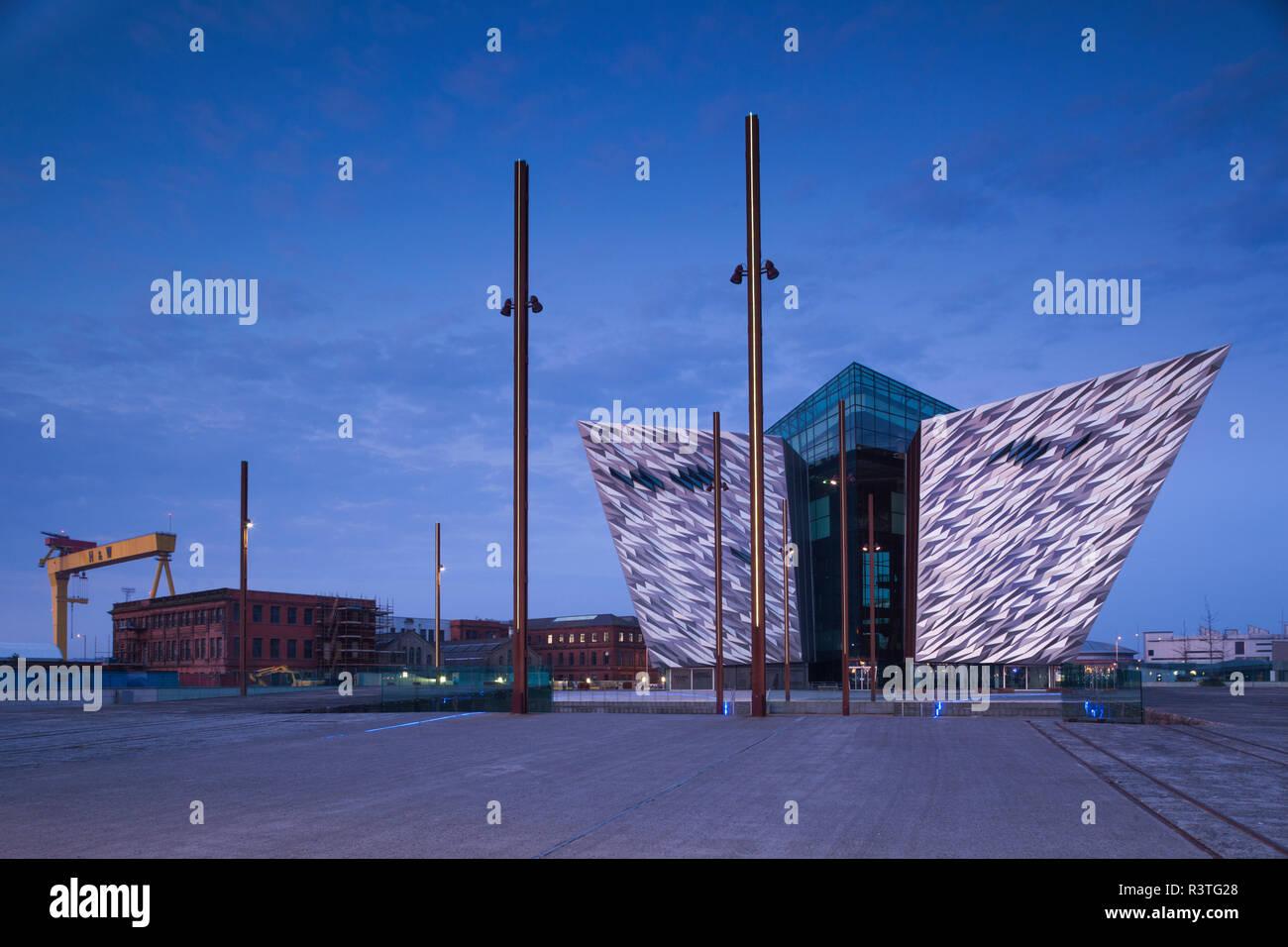 UK, Northern Ireland, Belfast Docklands, Exterior of Titanic Belfast Museum at dawn Stock Photo