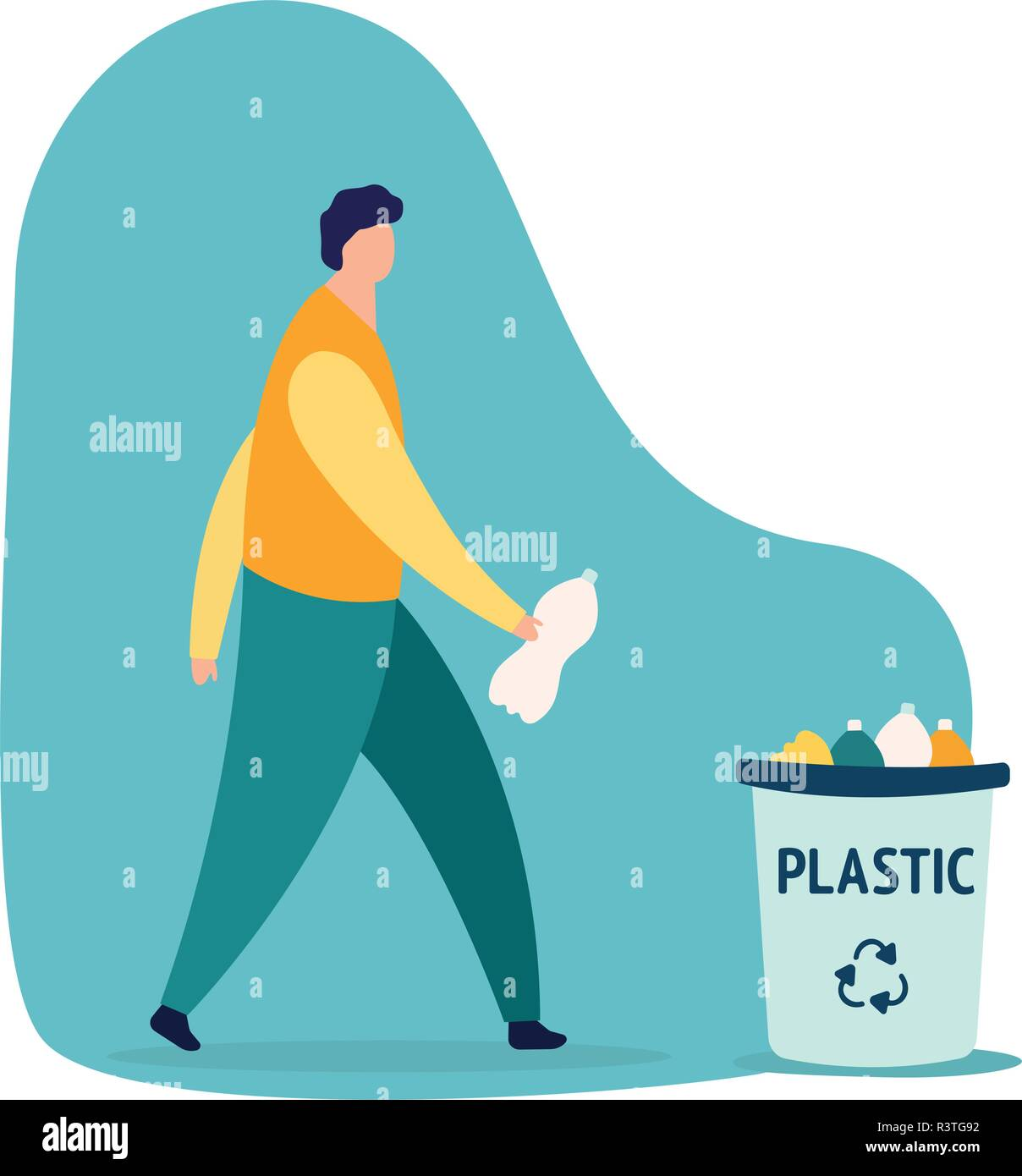 Caucasian person man throwing a plastic bottle waste in garbage bin. Isolated flat vector trash illustration on white background. Rubish recycling concept. - Stock Image