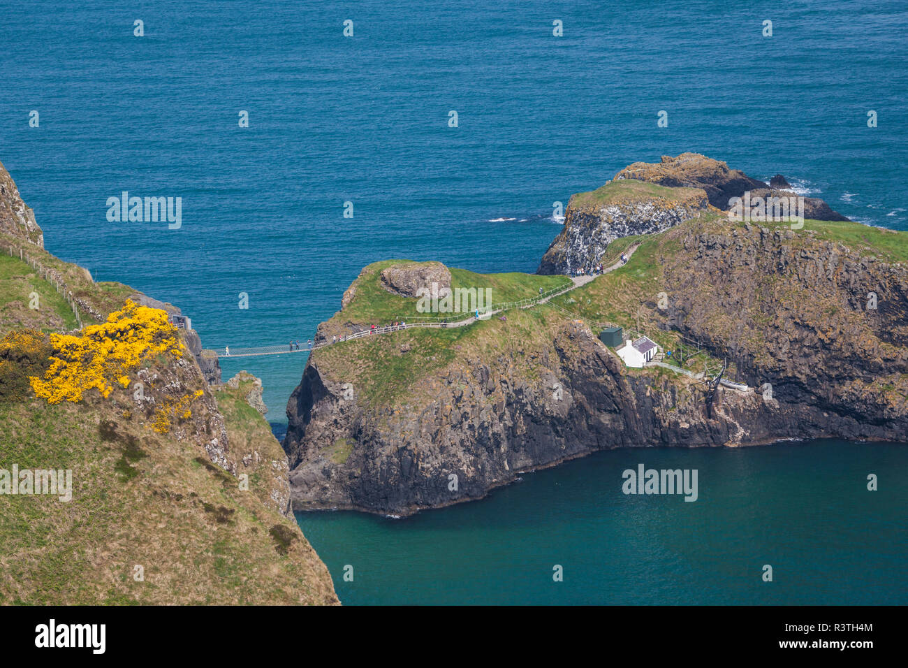 UK, Northern Ireland, County Antrim, Ballintoy, Carrick-a-Rede Rope Bridge - Stock Image