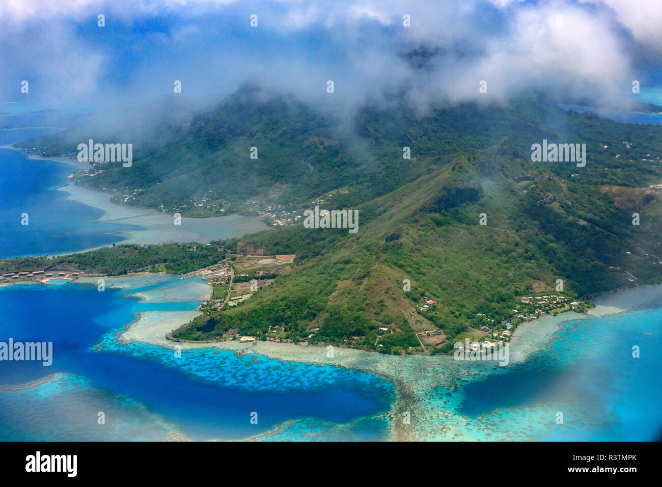 Aerial With Lagoon And Hotels Over The Water Bora Bora