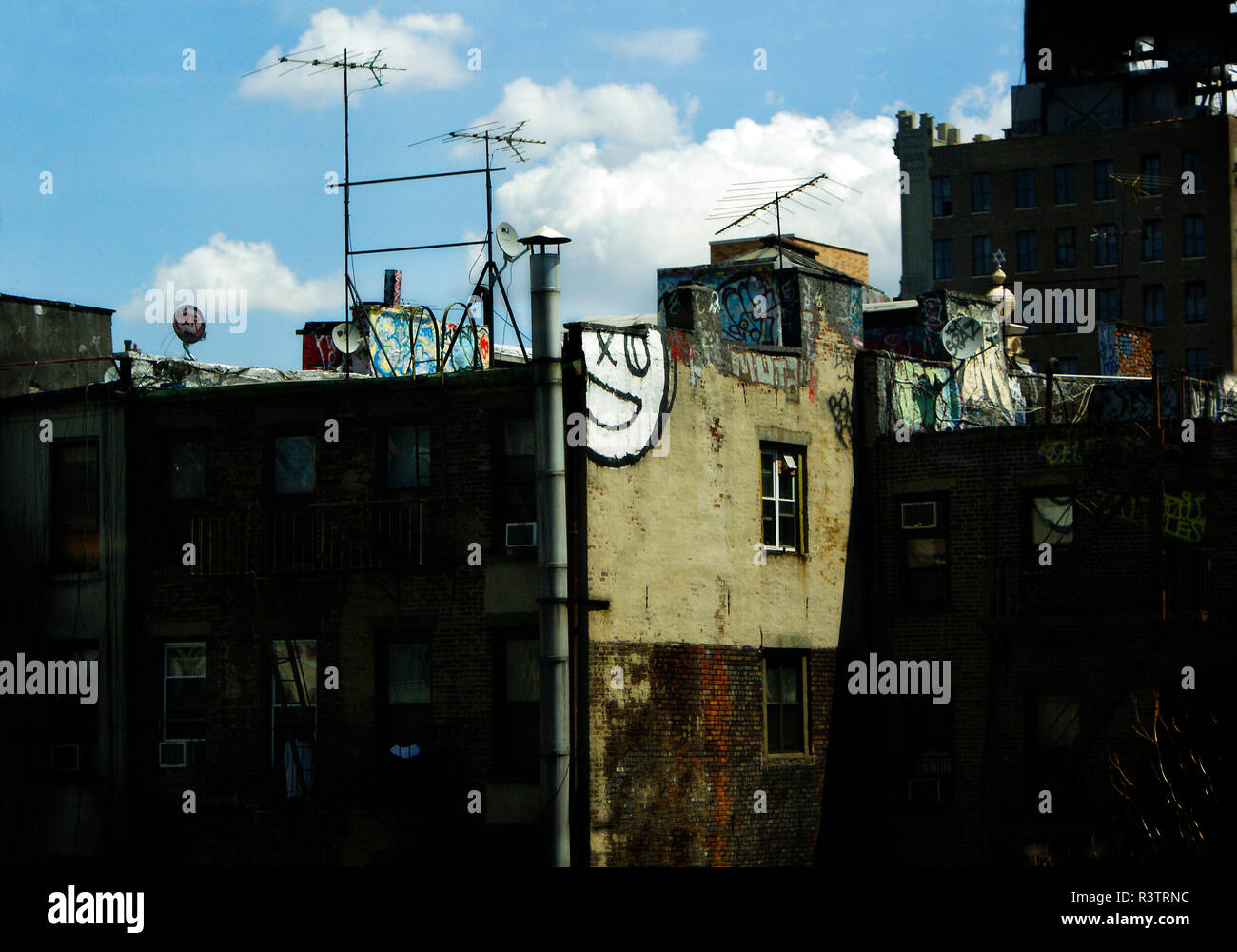 New York, USA - October 5, 2018: Old buildings in deplorable condition in the suburbs of New York. - Stock Image
